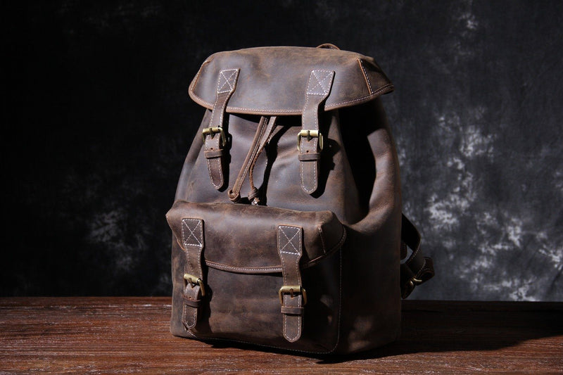 small leather knapsack