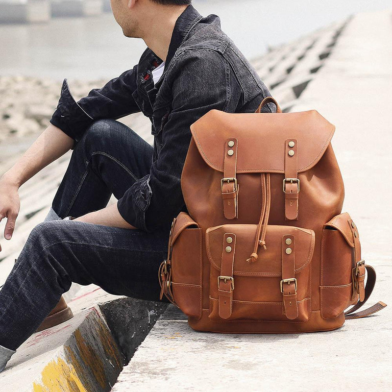 tan brown leather rucksack
