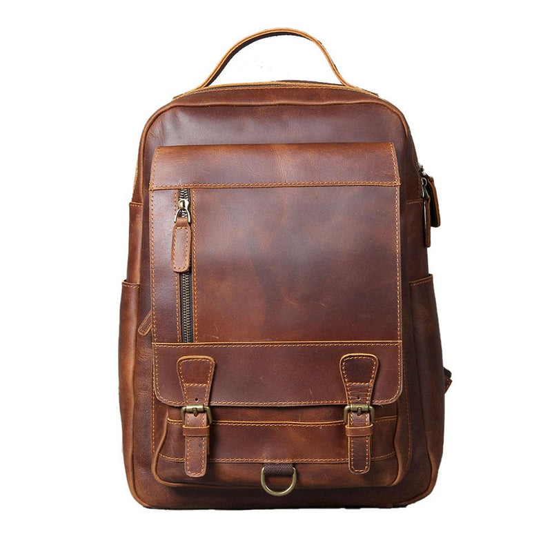 Tan Leather Backpack <br /> CAREA