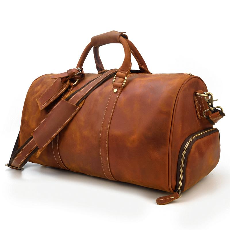 vintage brown leather duffle bag