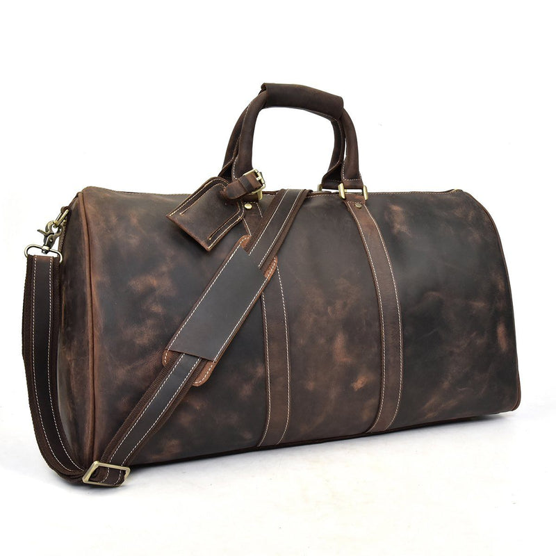 vintage brown leather holdall mens