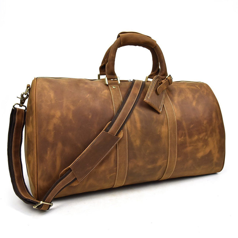 vintage brown leather holdall