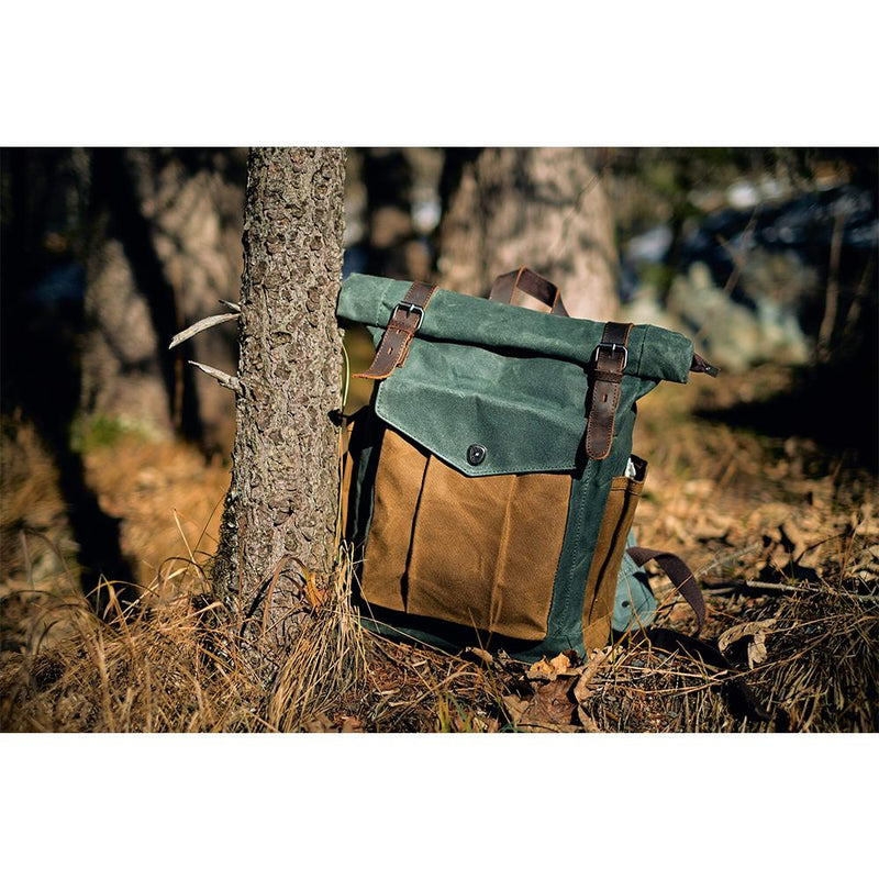 Waxed Canvas Backpack in Haki Colour  Roll Top Backpack with checkered details