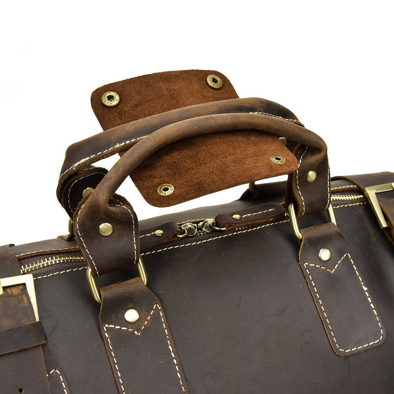 womens brown leather duffle bag