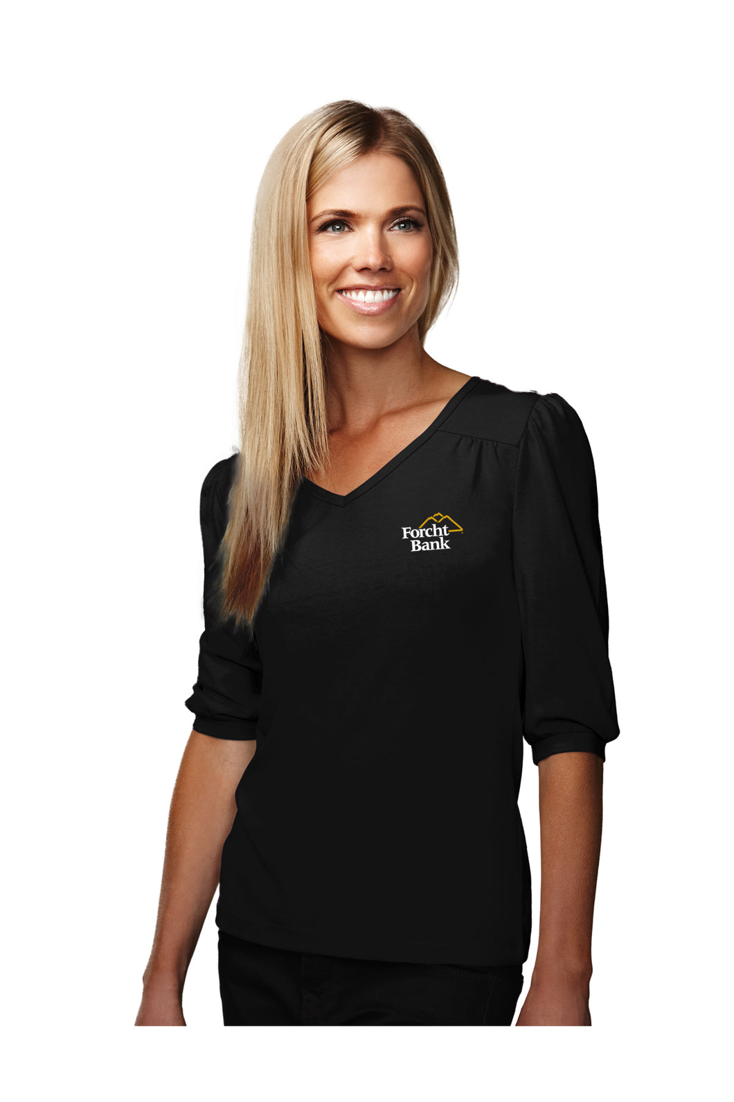 Ladies 3/4 Sleeve V-Neck Knit Shirt