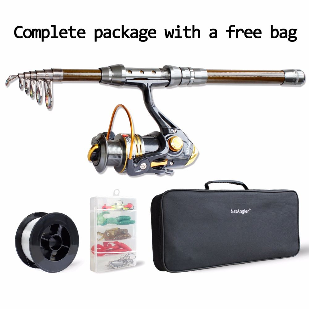 1.8m Spinning Fishing Combo Telescopic Fishing Rod and Reel Kit - with Line Lures Hooks Accessories and Carrier Bag Case for Saltwater Freshwater