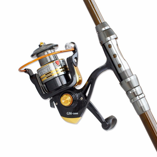 2.4m Spinning Fishing Combo Telescopic Fishing Rod and Reel Kit - with Line Lures Hooks Accessories and Carrier Bag Case for Saltwater Freshwater