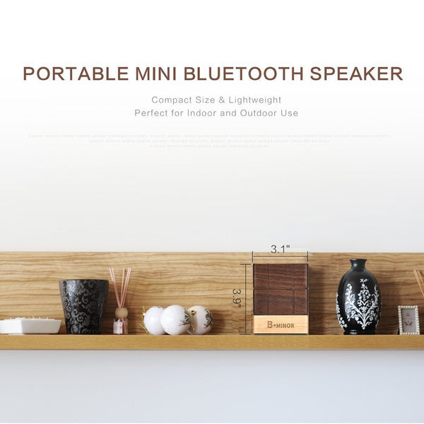 5D Solid Wood Ultra Portable Mini Wireless Bluetooth 4.2 Speaker with TWS (True Wireless Stereo) Technology - Chocolate Brown