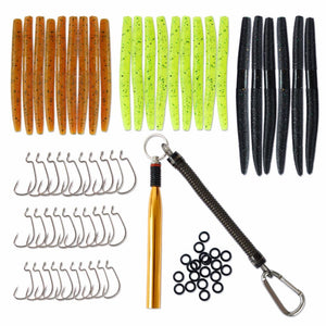 86Pcs Fishing Lures Set Soft Baits Tackle with Worms Fishing Hooks O-Rings and Wacky Rig O-Ring Tool