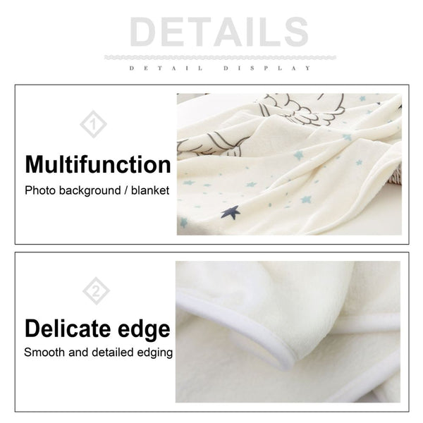 Baby Milestone Blanket Angle Pattern Soft Flannel Velvet for Monthly Photography Background Without Props