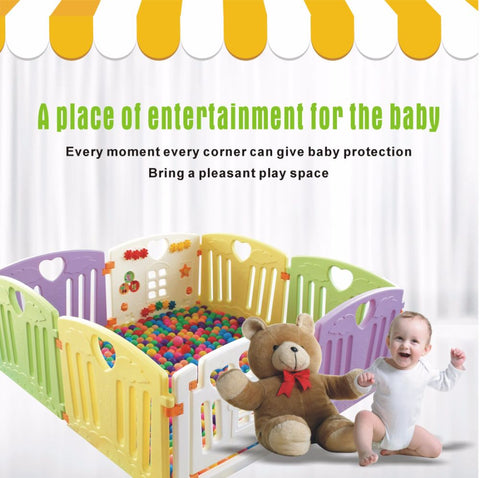 Baby Playpen Kids Activity Centre Safety Play Yard Home Indoor Outdoor New Pen (8 Panels, Multicolor)
