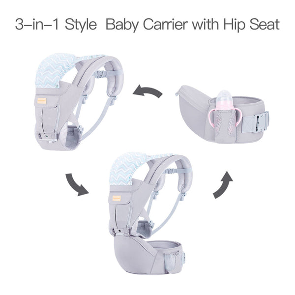 Baby Wrap Carrierwith Hip Seat, Windproof Cap, Bite Towel as well as 6 and 1 Convertible Backpack, Cotton Sling for Infants, Babies and Toddlers - Grey