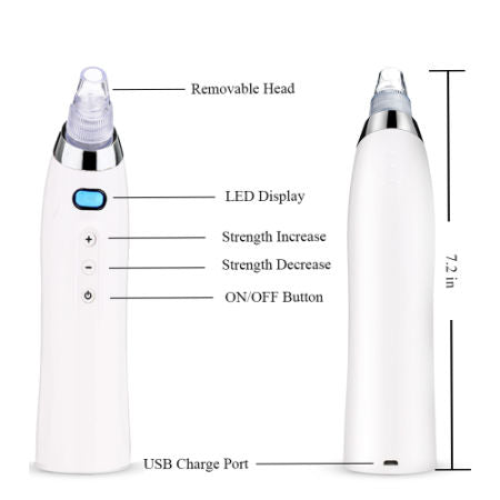 Blackhead Remover Vacuum Machine Electric Facial Pore Cleaner Acne Comedo Suction Microdermabrasion Exfoliating Extractor USB Rechargeable Skin Care Machine (White)