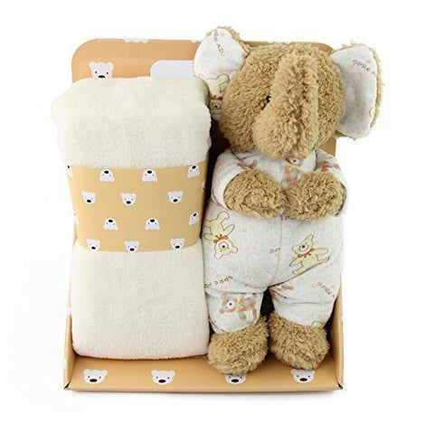 Dropshipping Free Shipping Plush Elephant Blanket Set with Stuffed Animal for Newborn Baby Soft Fleece Swaddle Blanket