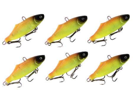 Lot 6pcs Fishing Lures Sinking Lure - Sinking Rattling Wiggler VIB Bait for Sea Bass & Trout - Suitable for Working in Any Water Layer 2.56 inches 15g