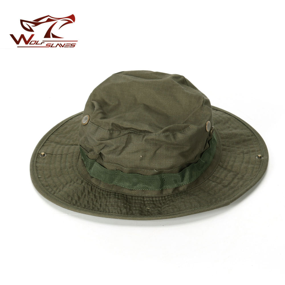 Military Boonie Hat Airsoft Sniper Camouflage Tactical Caps Wide Brim Bucket Camping Hunting Fishing Hat Fishing Cap