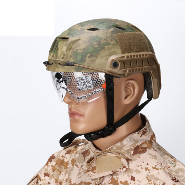 Outdoor Tactical BJ Helmet NVG Mount Side Rail with Clear Goggles Military Wargame Airsoft Hunting Accessories