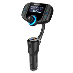 Perbeat Bluetooth FM Transmitter for Car Wireless Car Adaptor Fast Charger with QC3.0 USB MP3 Player 1.7 Inches Display Flexible Goose-Neck Micro SD Reader AUX In/Out for iPhone 7 iPad Samsung