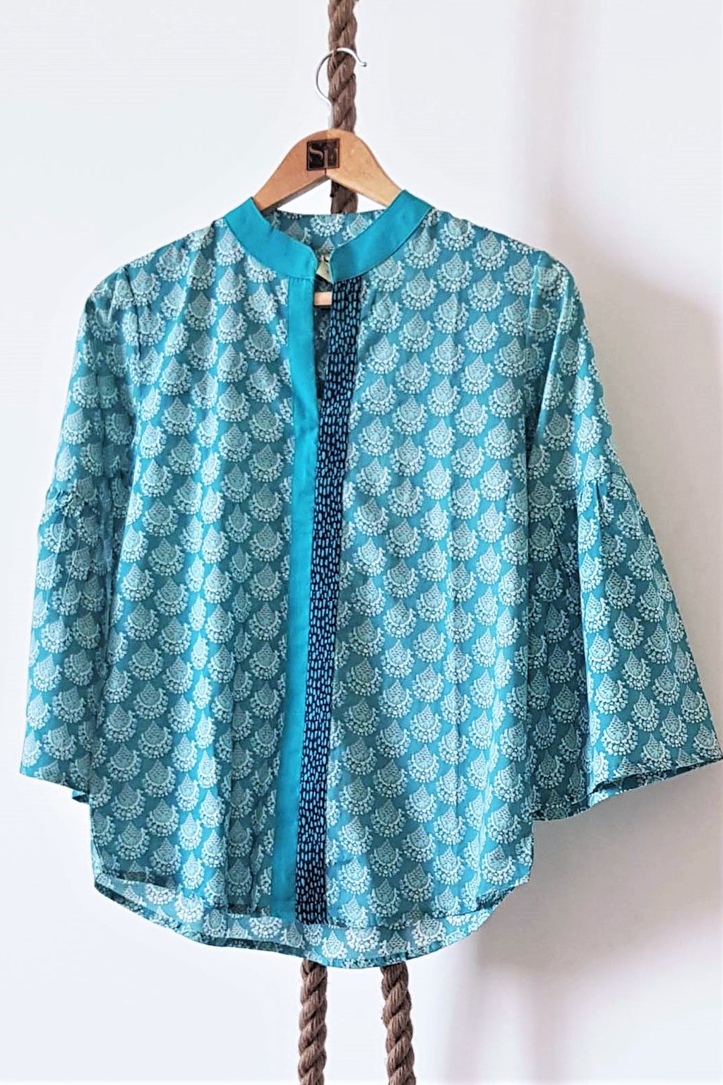 Women's Printed Cotton Top Marissa Teal- K1213MT