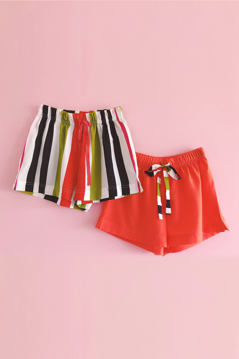 Women's Crepe Shorts Combo (Pack of 2) - K350 Peppy Stripes and Orange