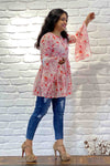 Womens Casual Floral Peplum Top with Tassel Tie - K1592
