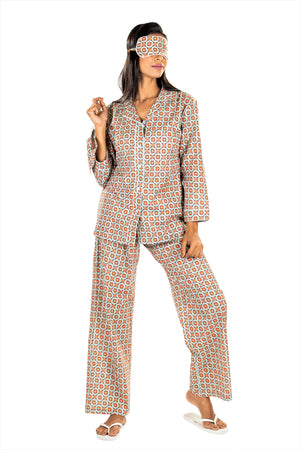 Women's Cotton Nightsuit -K538/ K539 - Rubic Grey Orange