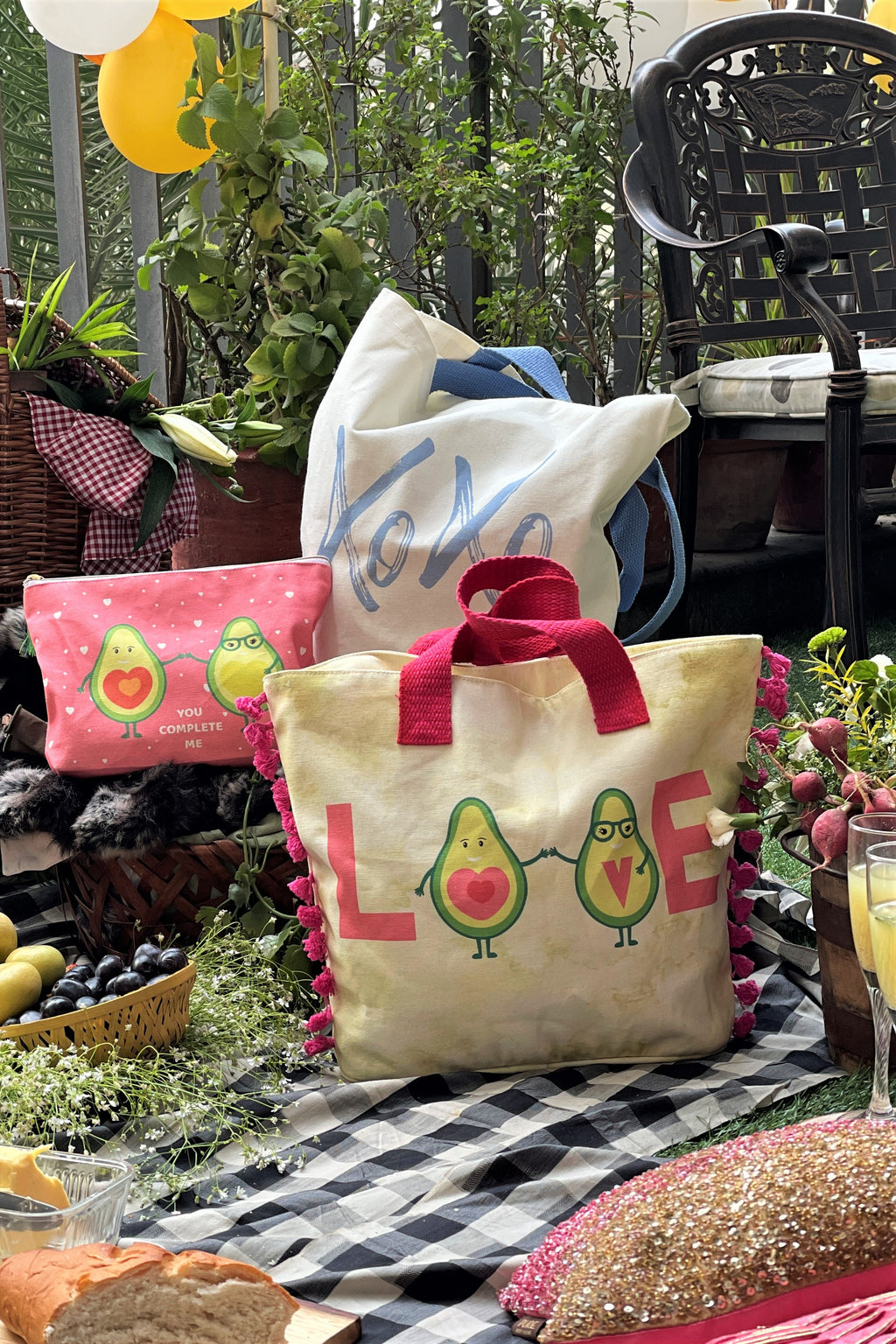 Avo Love Collection - Set of 3 - 2 Totes & 1 Pouch