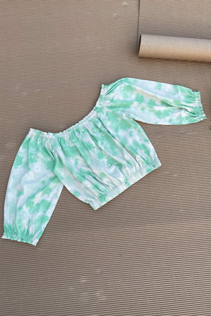 Women's TIE- n- DYE - Off Shoulder Co-Ord Set - Seafoam Green- K1975