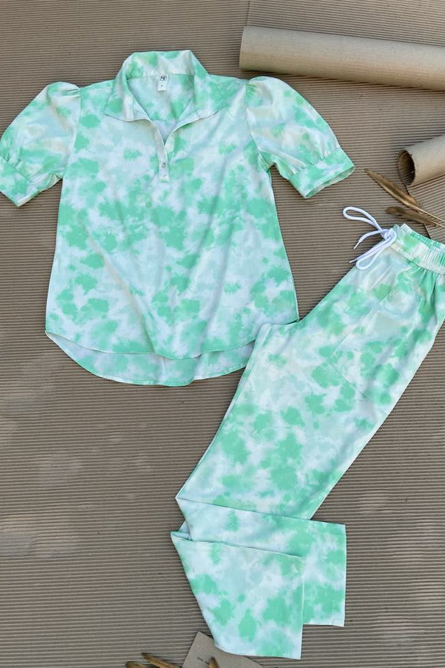Women's TIE- n- DYE - Shirt Co-Ord Set - Seafoam Green - K1976