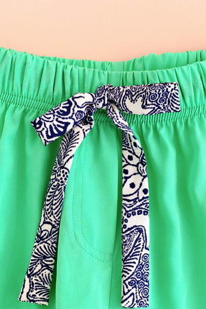 Women's Crepe Shorts Combo (Pack of 2) - K350 - Azuchi Blue and Mint