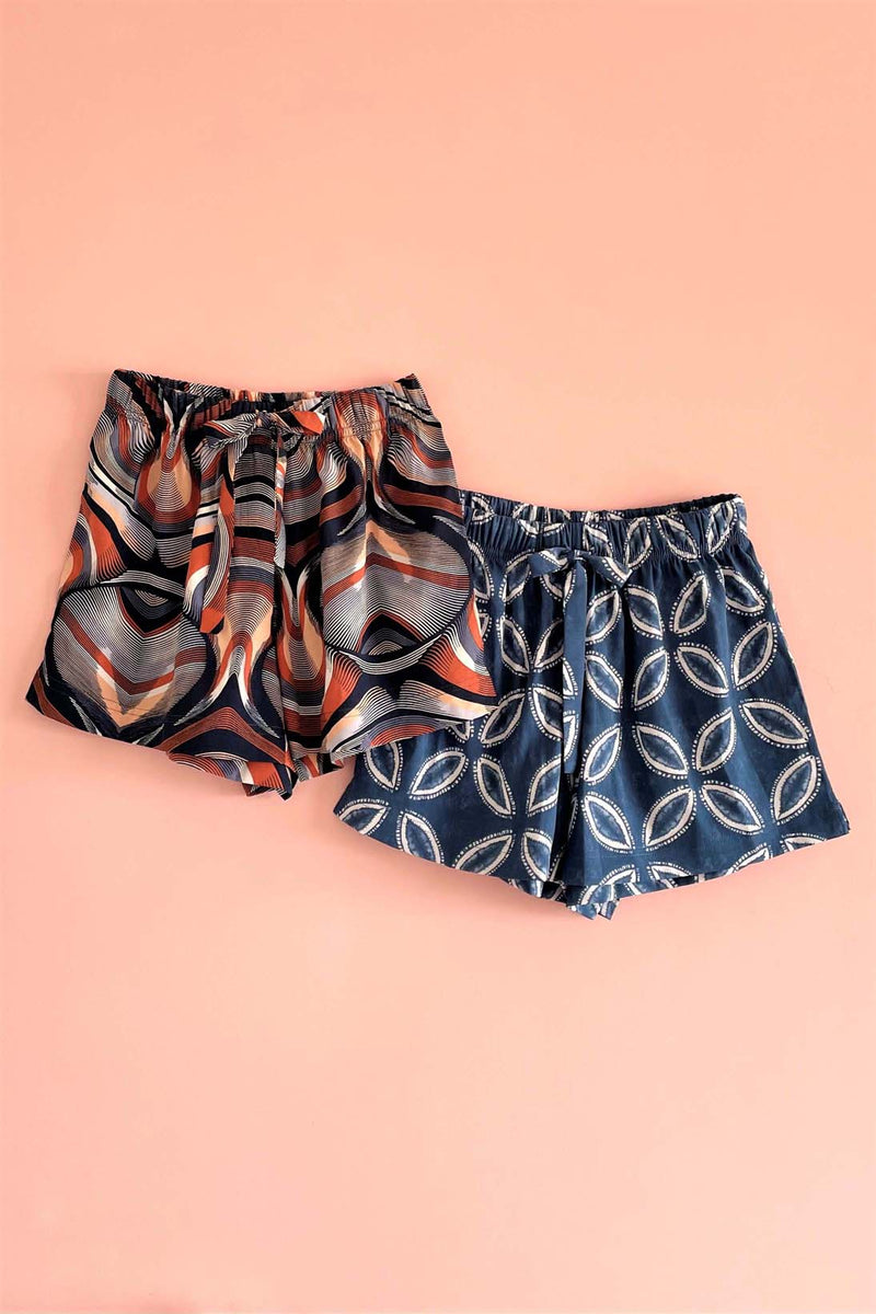 Women's Crepe Shorts Combo (Pack of 2) - K350P RB-Geo