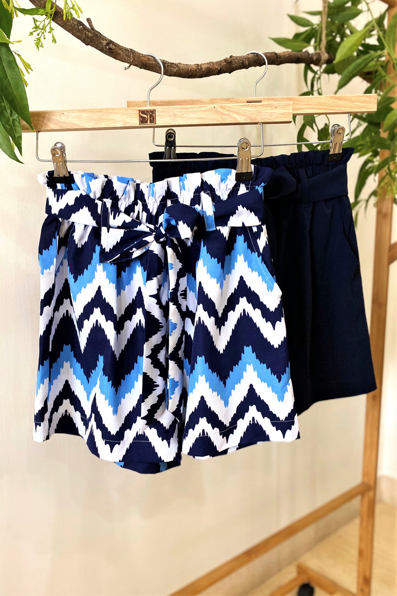 Paperbag Midi Shorts – Heartbeat Blue & Navy - K1902
