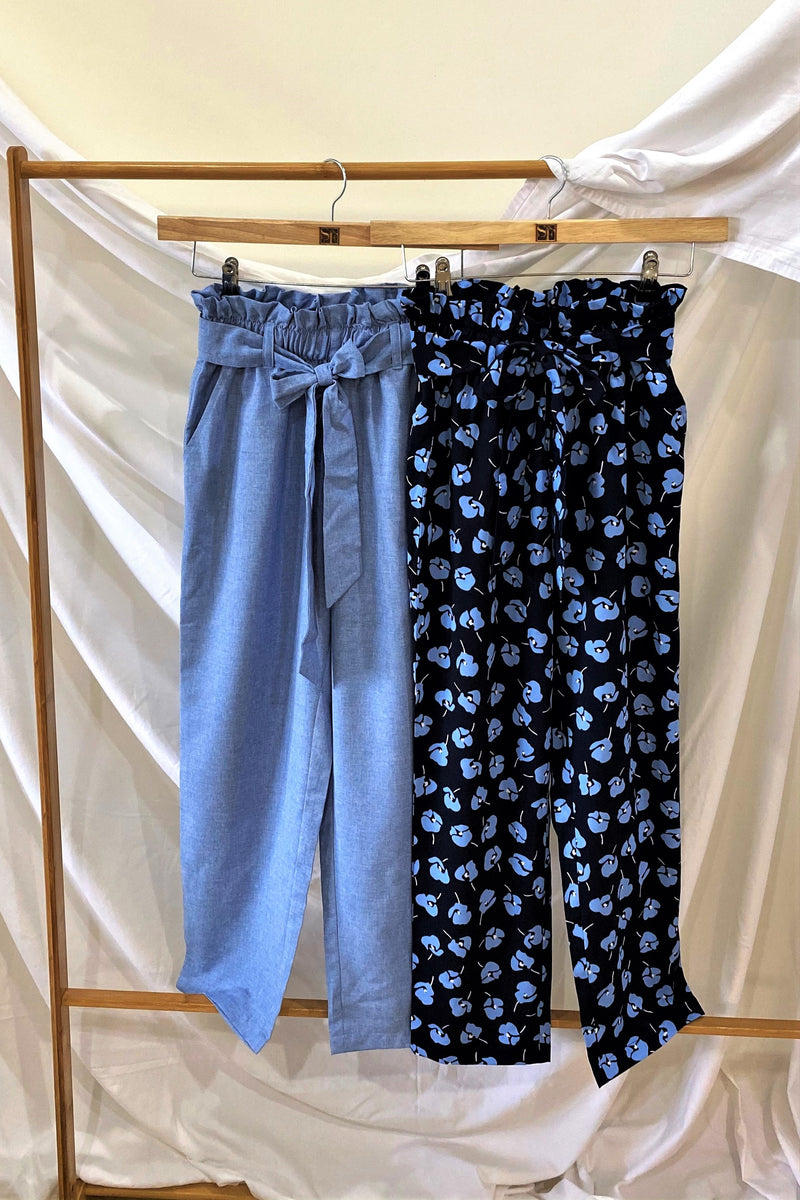 Paperbag Pants – Meiko Blue & Blue Chambray - K1918A