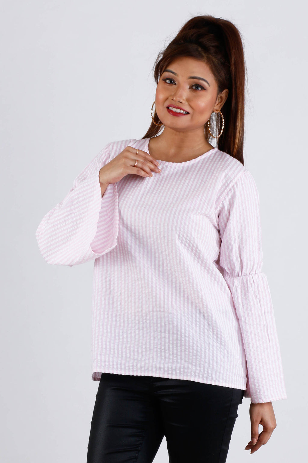 Womens Stripe Pink Top - K1315P