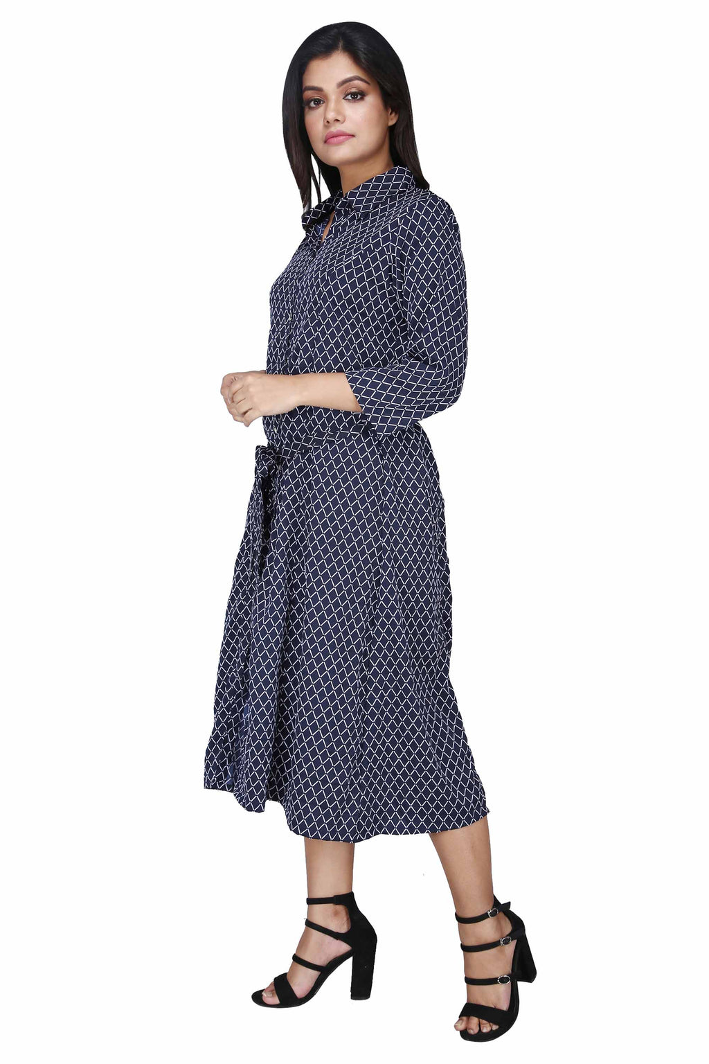 Women's Printed Navy Midi Dress - K1342ND