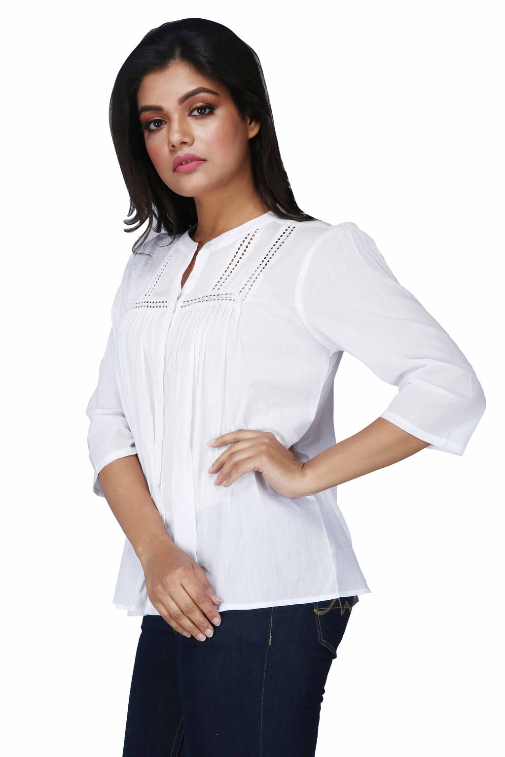 Women's Casual Pintuck Long White Top - K1385