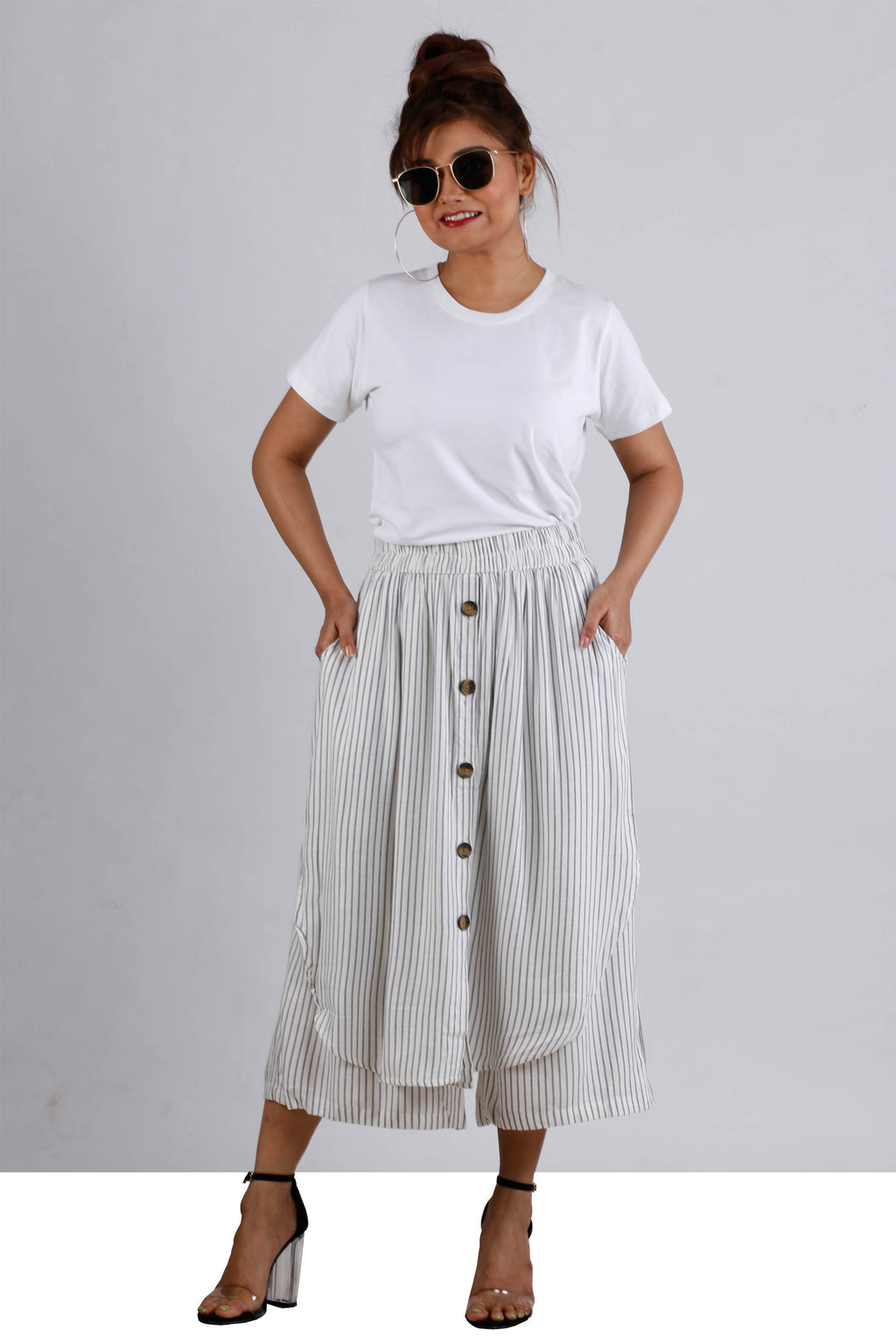 Womens Striped Three Fourth Pants With Skirt Look - K1425