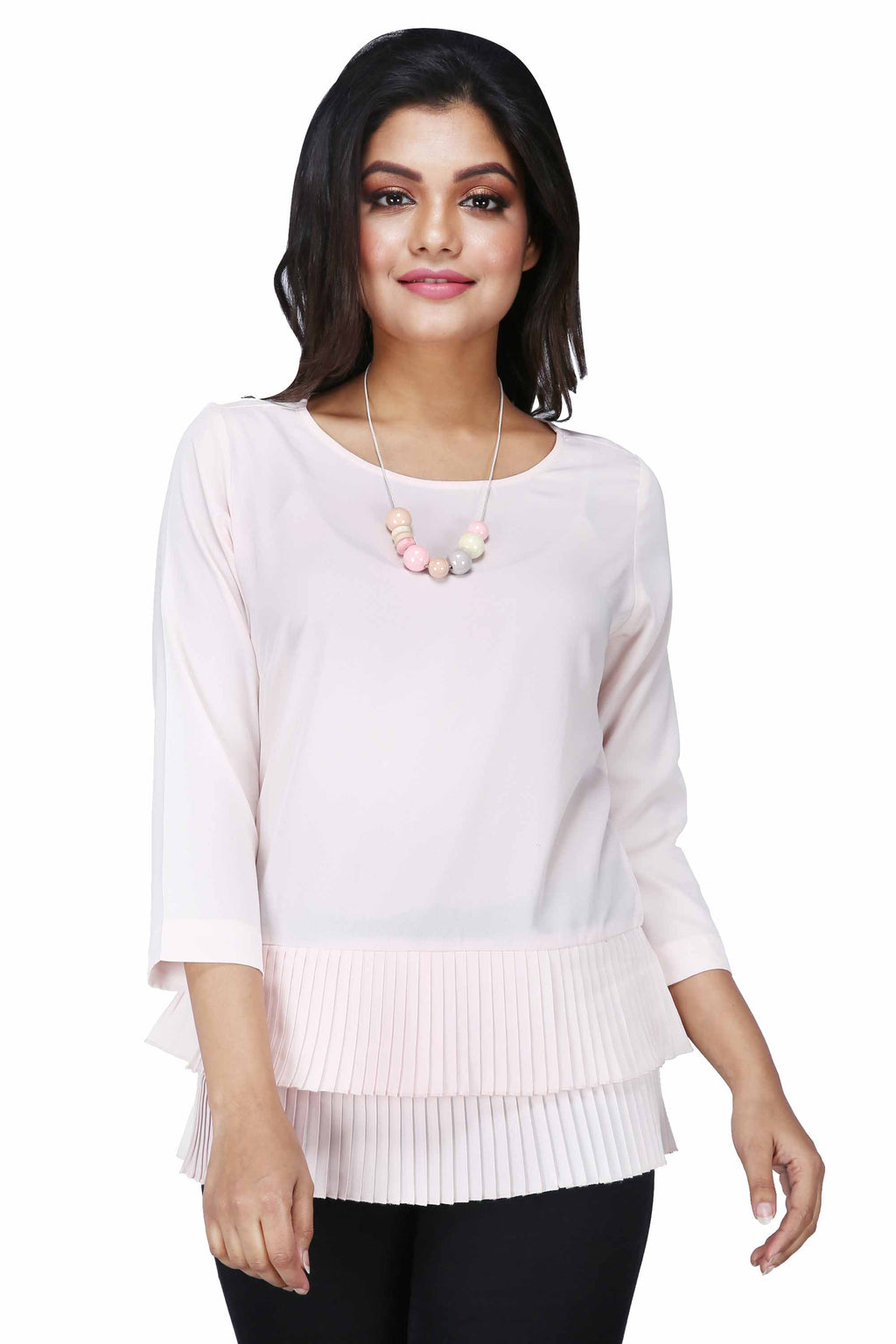 Women's Solid Colour Pleated Peplum Heavenly Pink Top - K1508