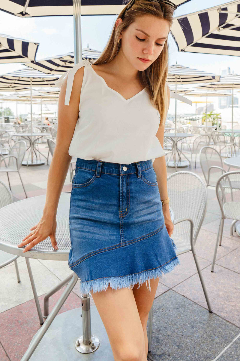 Women's Denim Short Skirt With Fringes- K1539