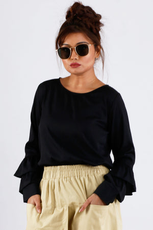 Womens Casual Black Top With Long Flare Sleeve - K1561BLC