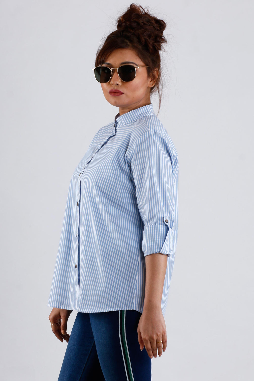 Womens Formal Stripe Blue Shirt - K1573B