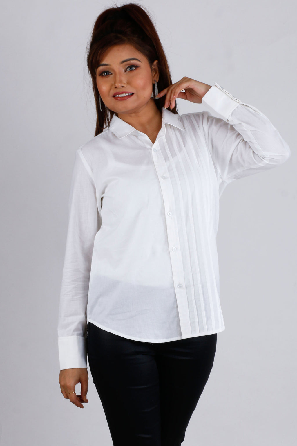 Womens Formal White Pintuck Shirt - K1585W