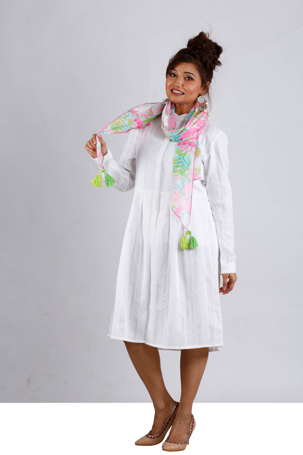 Womens Midi Fairy White Dress With Scarf - K1596FW