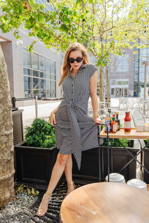 Women's Black & White Houndstooth Long Dress -K1695HBW