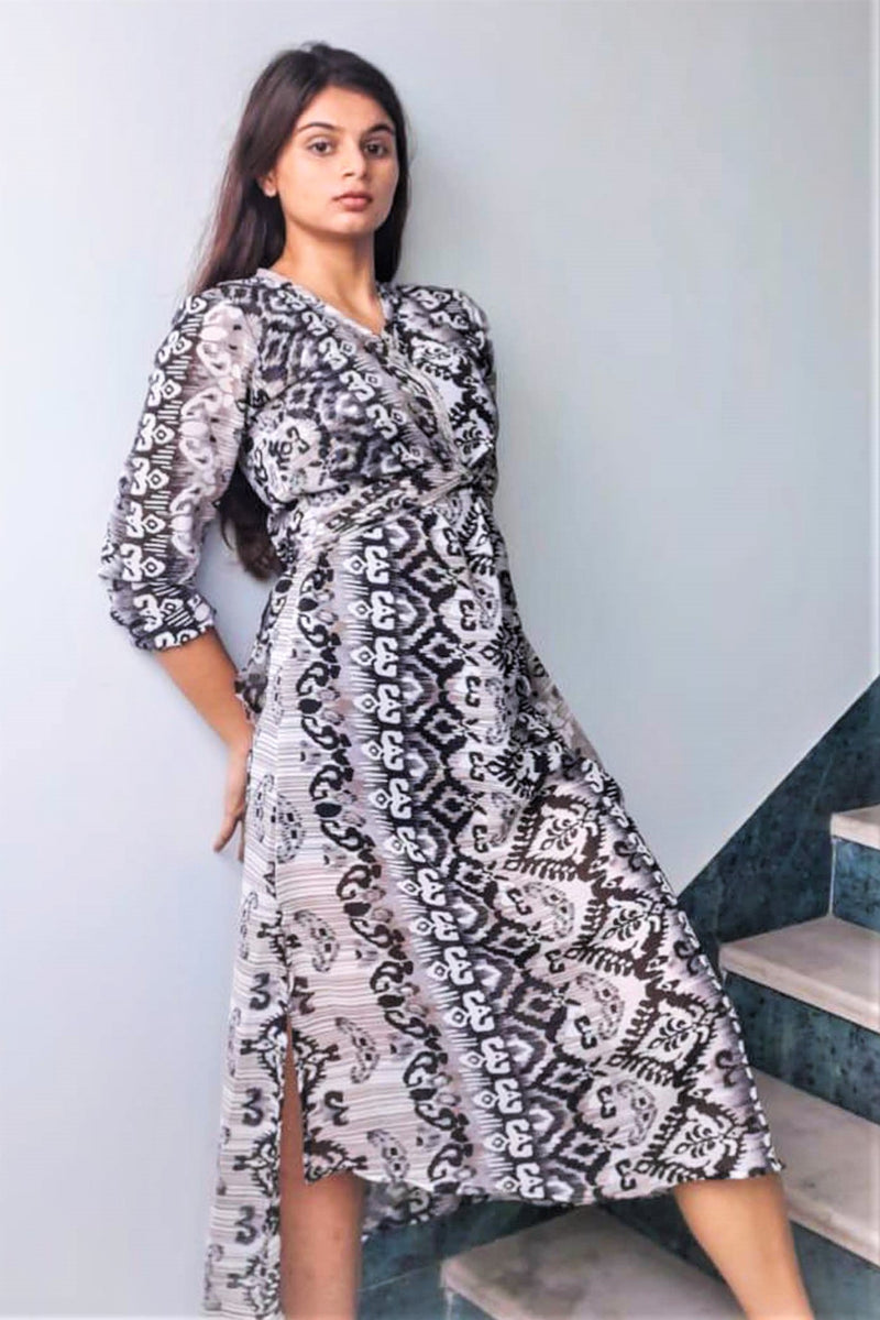 Women's Black Printed Long Dress - K1780BB