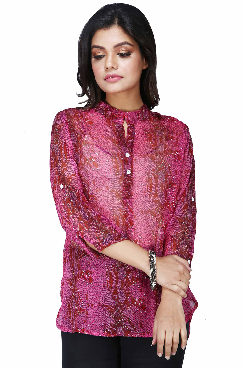 Women's Printed Three Fourth Sleeve Fuchsia Shirt - K527F
