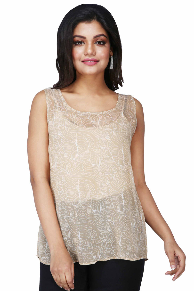 Women's Printed Casual Sleeveless Taupe Top - K598B