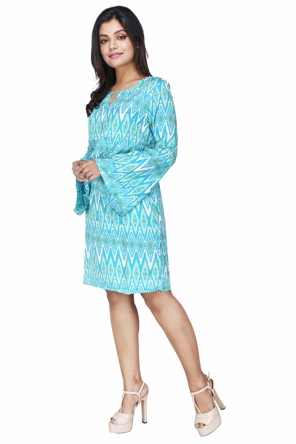 Women's Printed Mint Midi Dress - K705M