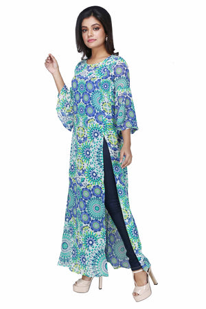 Women's Printed Full Sleeve Blue Long Dress With Lining - K927M