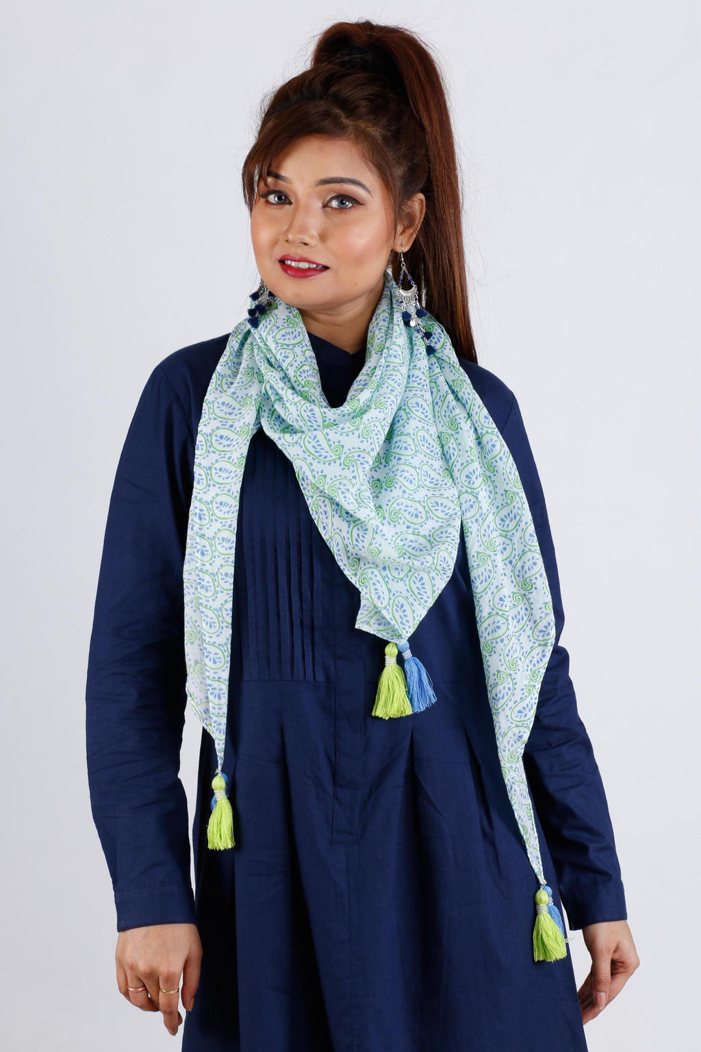 Womens Printed Cotton Scarf With Tassel - KS1B